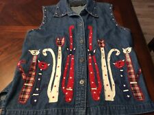 New Direction M Womens Red White And Blue Denim Cat Vest Cute American