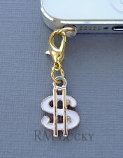 Gold Dollar Symbol cell phone Charm Anti Dust proof Plug ear jack For iPhone C84