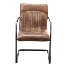 """21.5"""" W Set of 2 Rustic Dining Chair Distressed Top Grain Leather Iron Frame"""