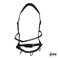 Black Cavesson noseband Leather Lunge Caveson Headcollar For Lunging and riding