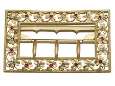 Victorian 0.18 ct Diamond and 0.19 ct Ruby, 20 ct Yellow Gold Belt Buckle
