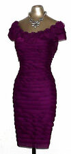 Purple Sheen Off Shoulder Wiggle Evening Cocktail Dress size 14 EU 42 Cruise