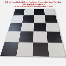 VINYL TILES-PURE BLACK & WHITE-CLASSIC RETRO CHECK PATTERN MIX-SAVE 60%ON RETAIL