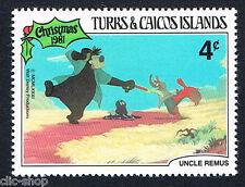 WALT DISNEY 1 FRANCOBOLLO TURKS & CAICOS ISLANDS CHRISTMAS 4c 1981 nuovo