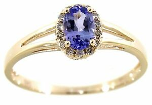 Tanzanite Gemstone 14K Yellow Gold 0.45CT Real Natural Halo Diamond Oval Ring
