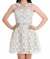 New Vintage Mint Green Floral Dress XS S M L  Spring Tea Rockabilly Hellbunny