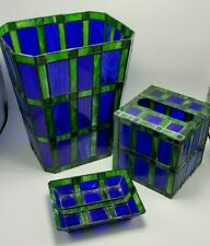 3 Piece Stained Glass Bathroom - Waste Basket, Tissue, & Soap Dish Blue/Green