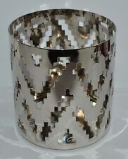 NEW YANKEE CANDLE CHROME CHEVRON JAR CANDLE HOLDER LARGE METAL SLEEVE DECOR DECO