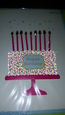 PAPYRUS 3D CANDLES SPRINKLED CAKE BIRTHDAY CARD GEMS BEADS CANDLES