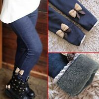 Cotton Thick Warm Winter Spring Jean Pants Bow Girls Trousers Children Pants