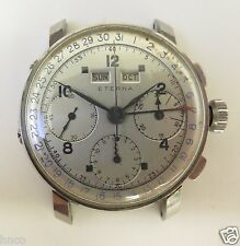 .VINTAGE 1940S ETERNA DATO COMPAX TRIPLE CALENDAR STEEL 35MM MENS VAL 72 WATCH