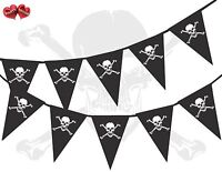 Pirate Skull and Bones Black Themed Bunting Banner 15 flags 10 Ft by PARTY DECOR