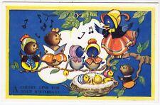 VIOLET HARFORD - Singing Birds - Valentine's #1092B - c1950s era postcard