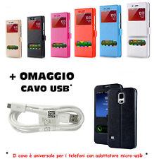 CUSTODIA COVER FLIP MAGNETICA VIEW LIBRO PER SAMSUNG A5 2016 +OMAGGIO CAVO USB