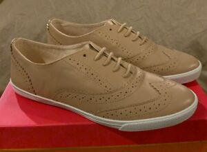 New Kate Spade Lima Powder Calf Leather Taupe Oxfords Womens 9.5 Sneakers Shoes