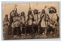 Vintage 1907 RPPC Postcard Native American War Dance South Dakota Rare Stamp