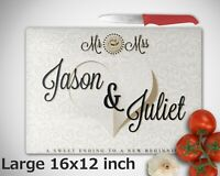 Personalised Glass Chopping Board Wedding Anniversary Couples Gift CUSTOM Name
