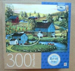 A 300 LARGE PIECE JIGSAW PUZZLE BY MILTON BRADLEY - RIVER ROMANCE