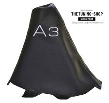 """For Audi A3 2001-2012 Gear Boot Black Genuine Leather """"A3"""" White Embroidery"""