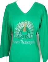 MEDIUM Top Rhinestone Hand Embellished HAPPY THANKSGIVING TURKEY Design