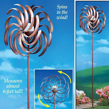 Yard Metal Wind Spinner Outdoor Stake Solar Lighted Decoration Garden Spin Wheel