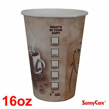 SunnyCare 16 oz Hot Coffee Paper Cups (Case of 1000)