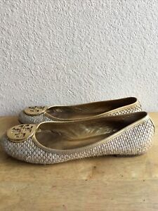 Tory Burch Tan Textured Leather Gold Logo Flats Shoes SZ 8 M Pre-Owned Condition