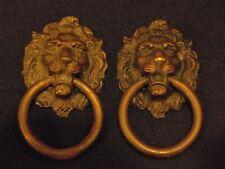 TWO ANTIQUE LION HEAD RING DRAWER PULLS KELLER BRASS CO. KBC14577
