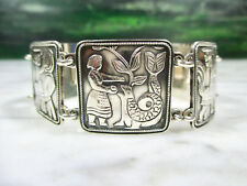 MID CENTURY DAVID ANDERSEN STERLING SILVER FAIRYTALE PANEL BRACELET NORWAY VTG