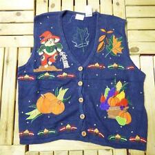 Vintage Novelty Retro HALLOWEEN Waistcoat Jumper Fancy Dress Bad Taste XL A0778