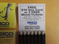 4 Geico lizard Match books ( free gas )( movie tickets)