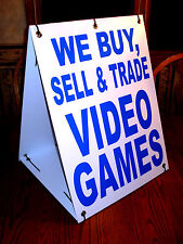 WE BUY, SELL & TRADE VIDEO GAMES Sandwich Board Sign  A-Frame Kit NEW white