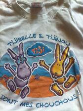 TIJI TV Tshirt Blanc TIJINOU TIJIBELLE Enfant 3/4 ans 110cm ou 5/6 Ans 120cm