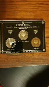 CHICAGO BULLS 97-98 .999 FINE SILVER ENVIROMINT ROUNDS 3 COIN PROOF SET 36/250