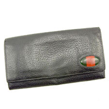 bf03dadca865 Gucci Wallet Purse Sherry Line Black Green Woman unisex Authentic Used T034