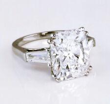 14k 3.50 Ct. Cushion Cut w/ Baguette 3-Stone Diamond Engagement Ring G, VS2 GIA