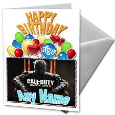 BLACK OPPS CALL OF DUTY- Personalised BirthdayCard Son, nephew, grandson, friend