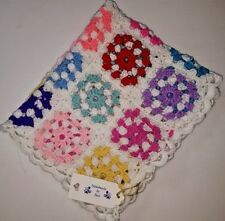 hand made crochet baby blanket, car seat/pram blanket,  multi  rainbow colour