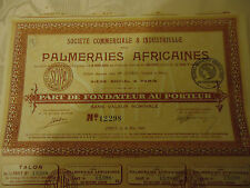 """223- 4 titres actions """"PALMERAIES AFRICAINES"""""""