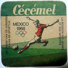 98d641113dc 1968 Olympic Games Mexico Original Vintage Advertising Coaster Cecemel  FOOTBALL