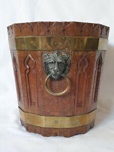 Carved Oak Brass Bucket Gothic Lion Handles Jardiniere Planter Peat Wine Cooler