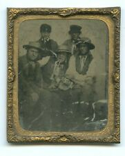 More details for unusual 1/6th plate ambrotype - five men - straw hats & pipes c1860s