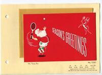 VINTAGE CHRISTMAS  SANTA CLAUS PLAYING TENNIS W/ REINDEER RACKET BALL ART CARD