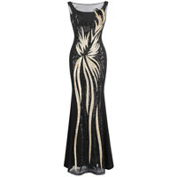 Angel-fashions Women's Sheer Gold Sequined Black Splicing Evening Dress 403