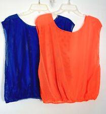 Teens/Adults Nylon Mesh Sports Training Vests Pinnies, 8 Blue, 2 Orange, One Sz.