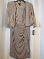 NWT Jessica Howard 14W Cocktail Dress Dark Beige W/ Sequins W/ Jacket Org $139