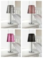 Glitter Table Lamp Bedside Bedroom Sparkle Collection Metallic With Chrome Stand