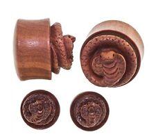 "PAIR-Wood Saba 3D Cobra Carved Double Flare Ear Plugs 38mm/1-1/2"" Big Gauge Body"
