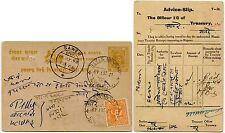 INDIA HOLKAR STATE UPRATED PRINTED STATIONERY POSTCARD to SAWER 1948