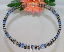 edel elegant Kette Würfel 4mm Hämatit silber glanz Kristall Strass hellblau 053L